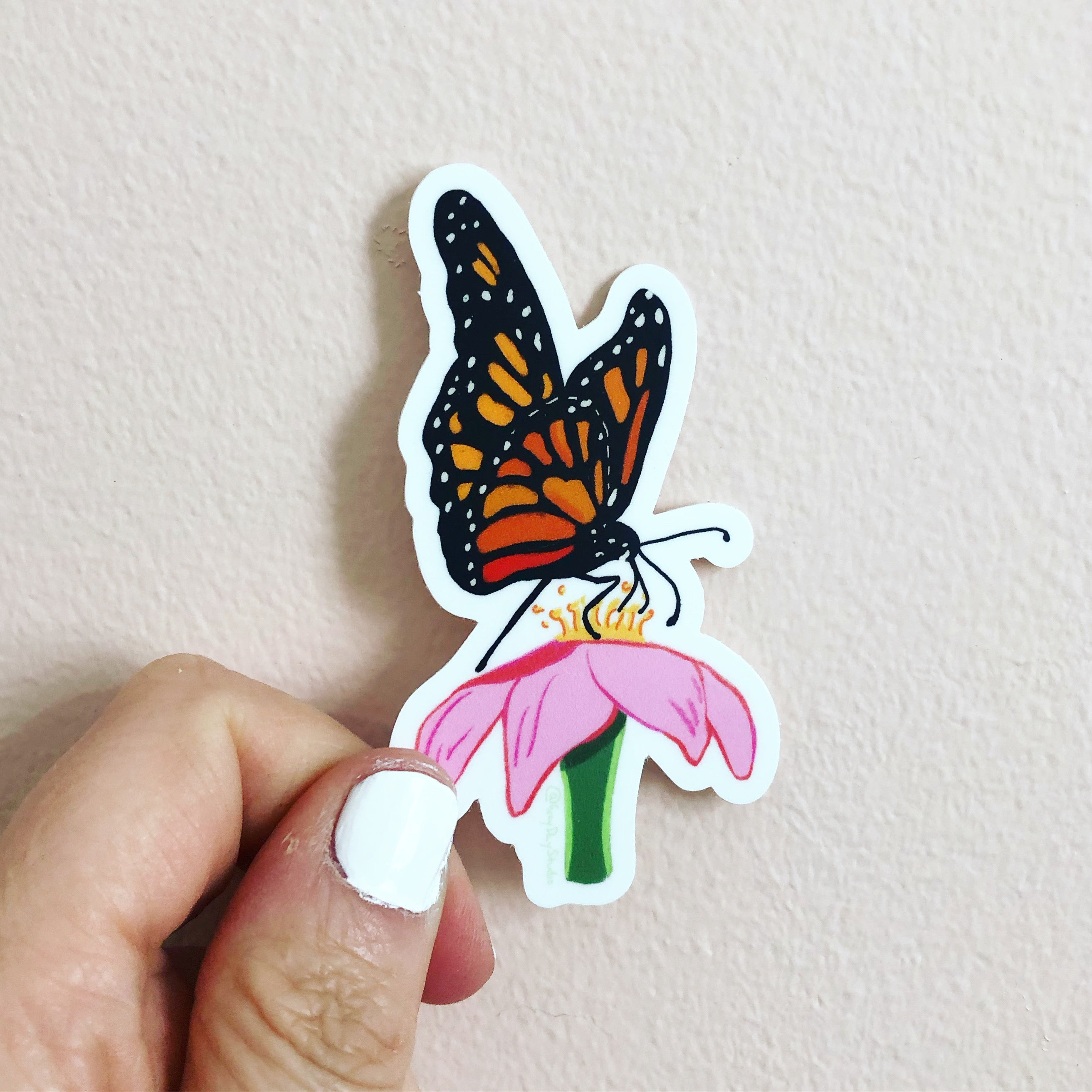Moarch butterlfy sticker, pink zinnia and butterfly sticker, by Abigail Gray Swartz