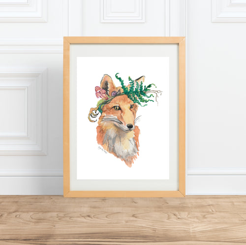 Foraging Fox, watercolor animal portrait--Print