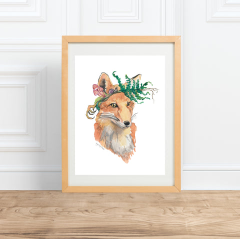 Dumpster Diving Raccoon, watercolor animal portrait--Print