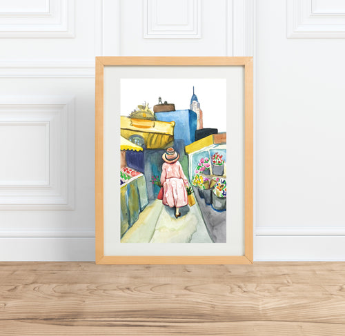 NYC Skyline Flower Market Print || watercolor Illustration painting --Print