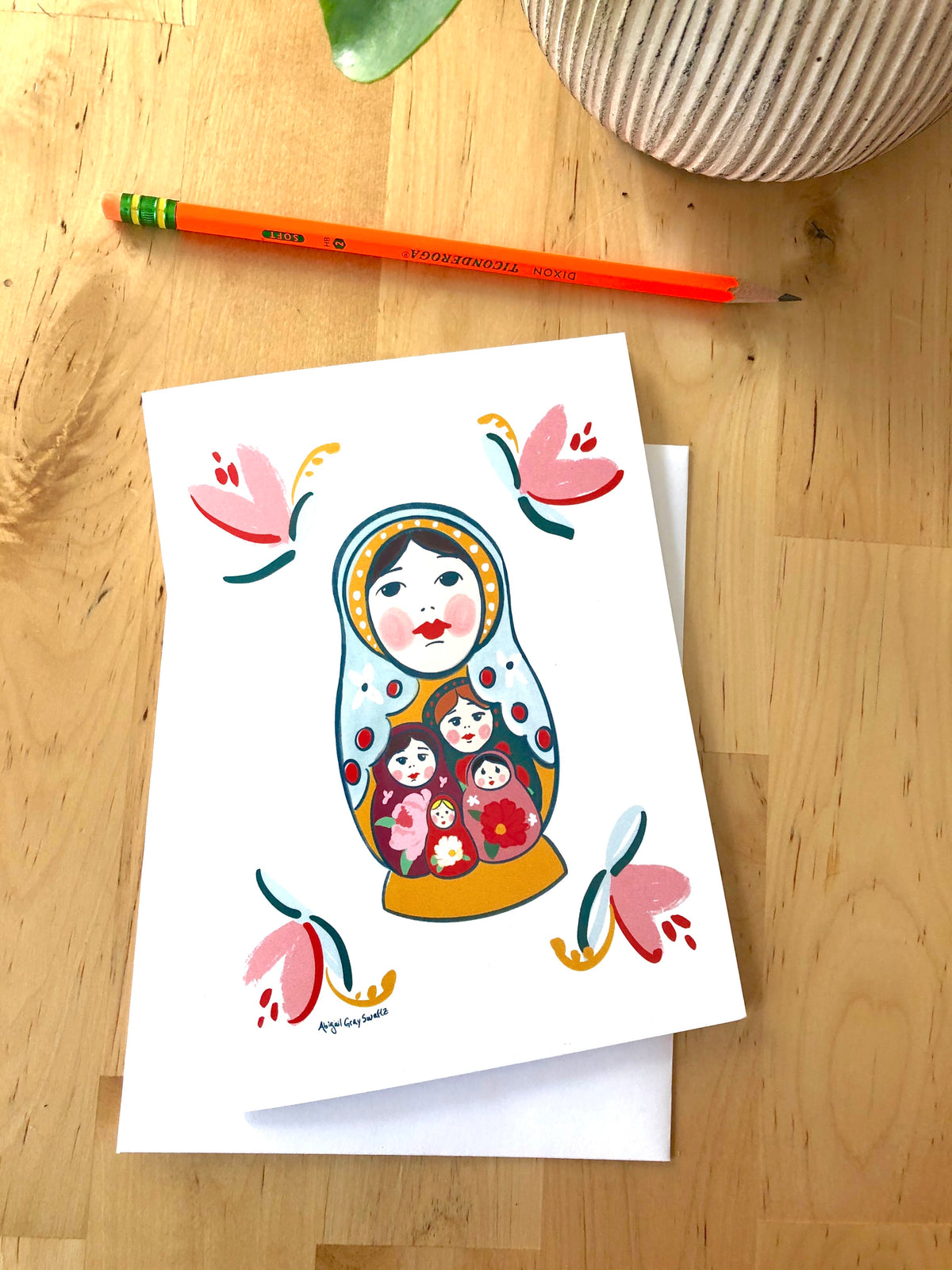 Nesting Doll Card, folk art inspired, perfect for Mother's Day and sisterhood--Greeting Card
