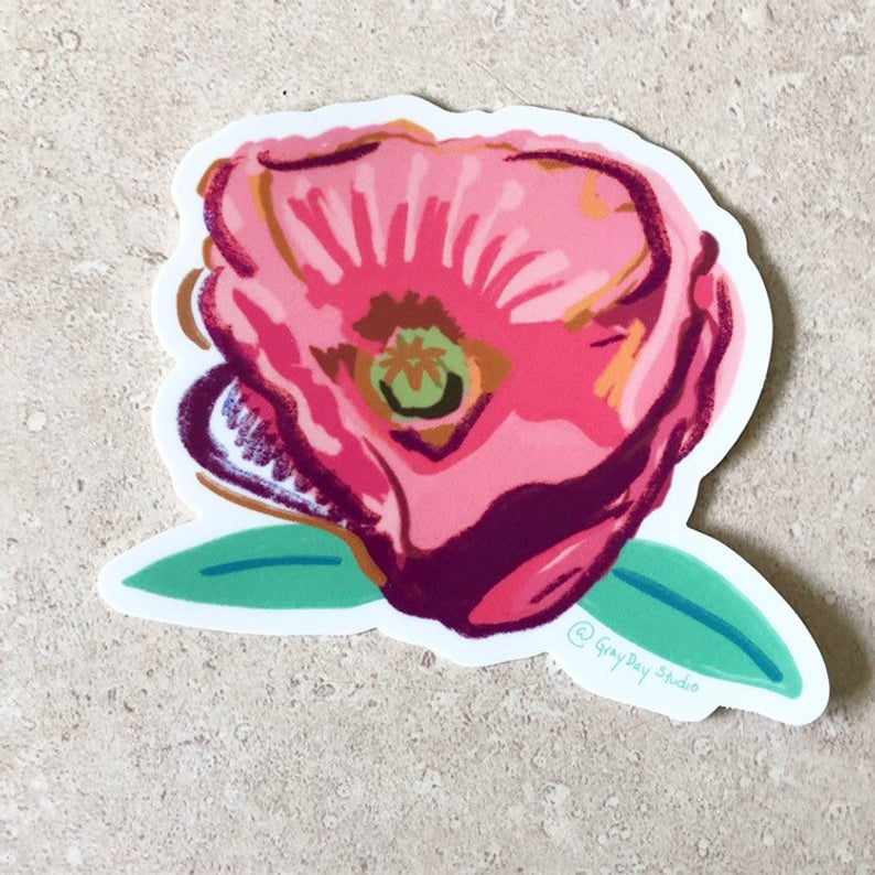 Poppy, floral STICKER - Stickers & Magnets