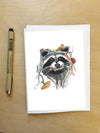 Dumpster diving Raccoon --Greeting Card