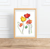 Rainbow Poppies || Floral watercolor --Print