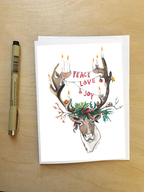 Peace Love and Joy, Reindeer holiday Card-- Holiday