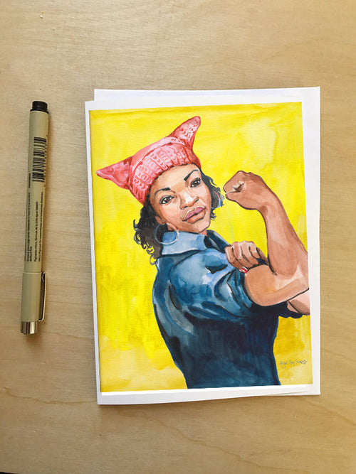 Rosie, Women's March New Yorker Cover--Greeting Card