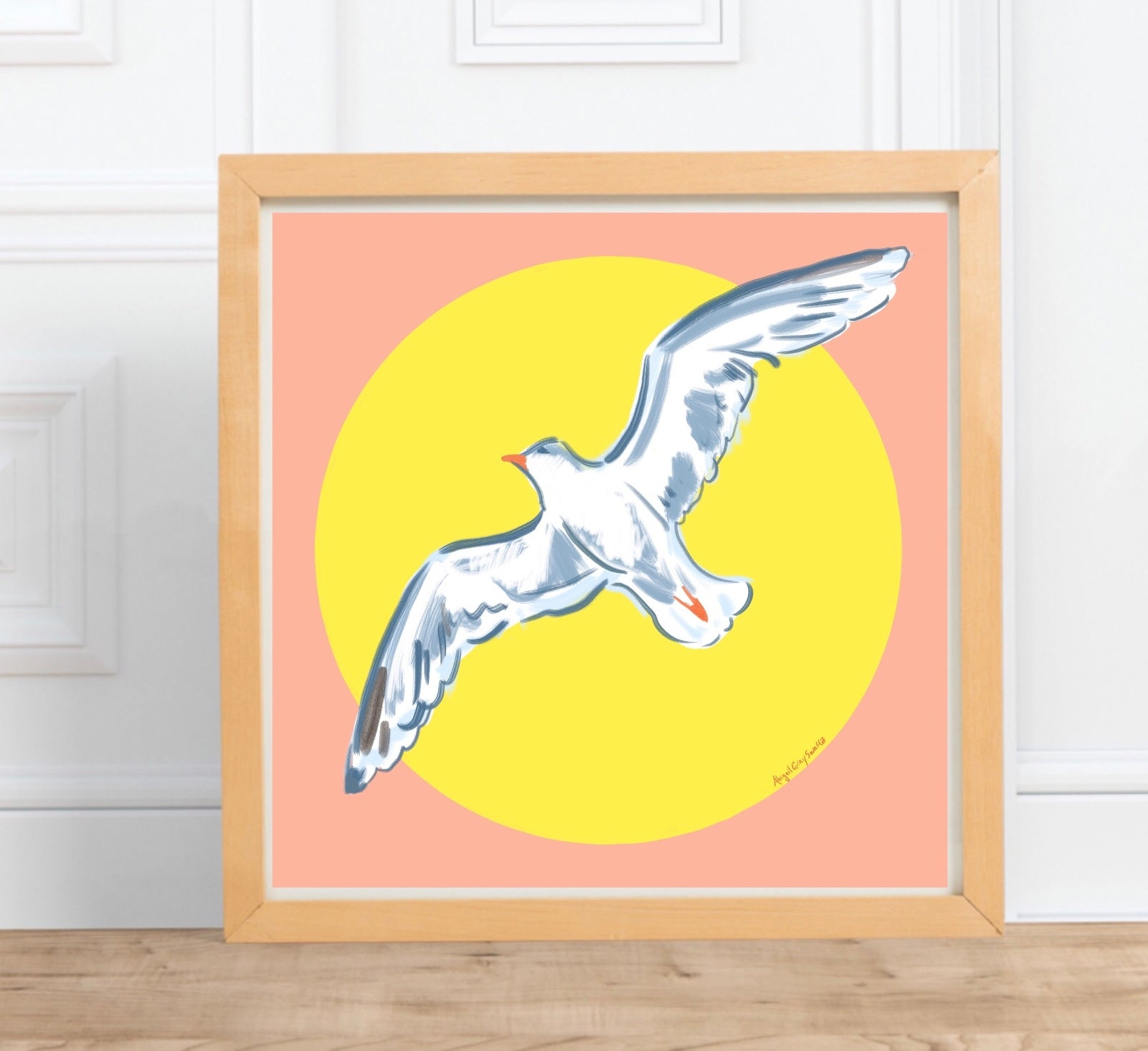 seagull art, seagull print, ocean art, bird art, pink and yellow print, bird print, artwork by Abigail Gray Swartz