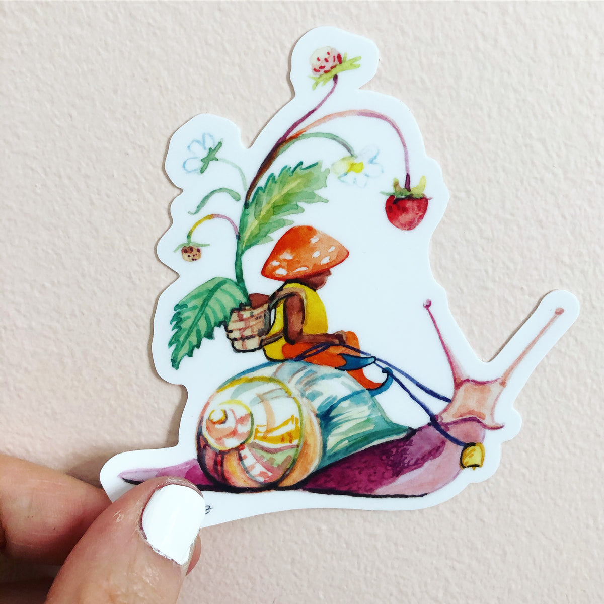 snail gnome sticker, woodland sticker, by Abigail Gray Swartz