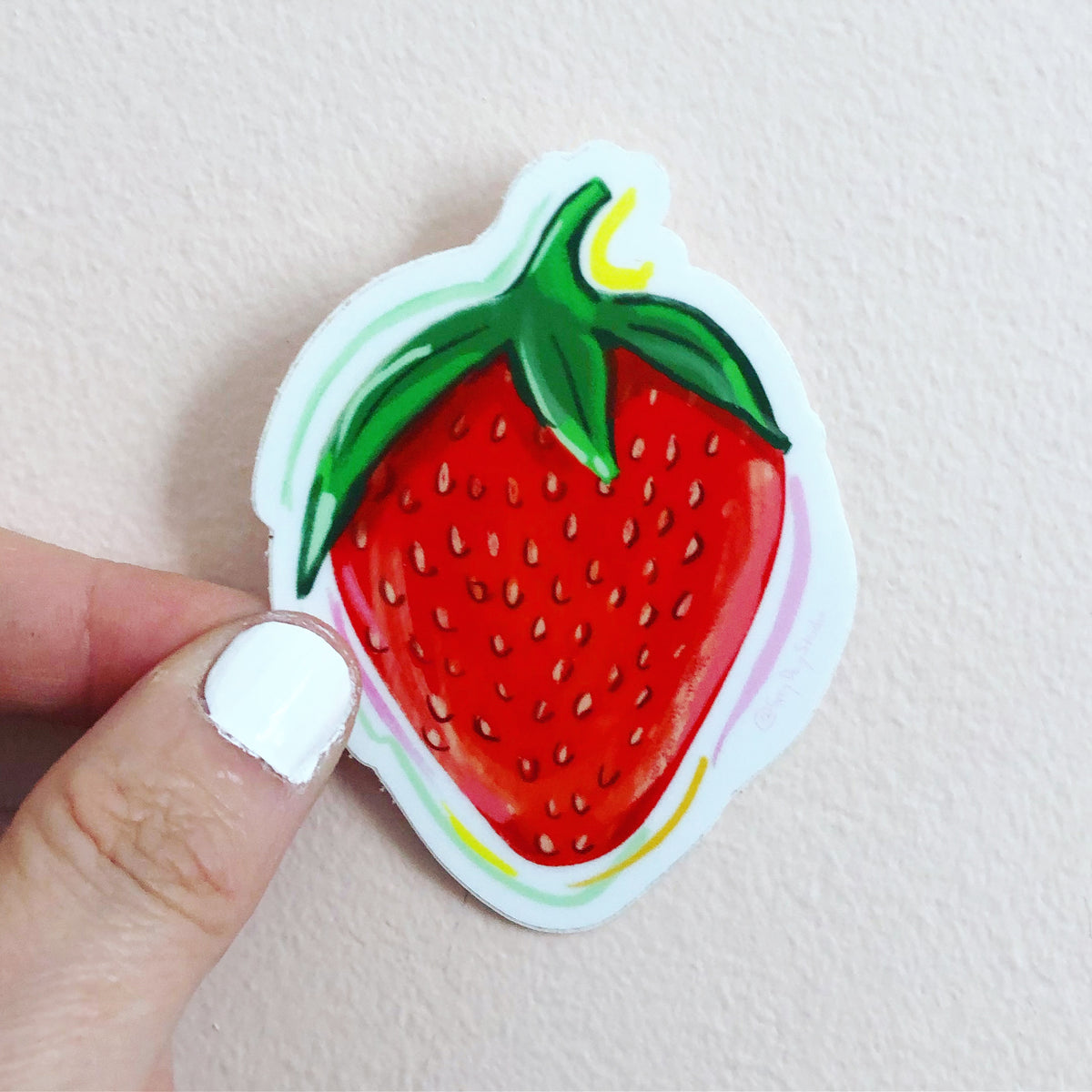 Strawberry sticker, fruit sticker, red sticker, by Abigail Gray Swartz