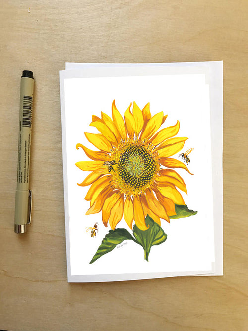Pollinator Parade, Sunflower and bees Card-Greeting Card