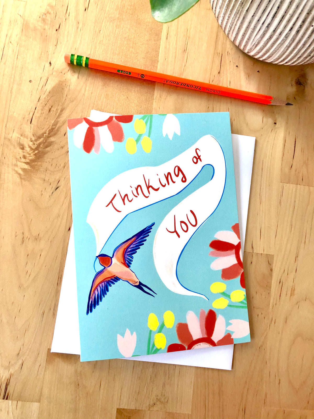 Thinking of You Greeting card, swallow card, sympathy card --Greeting Card