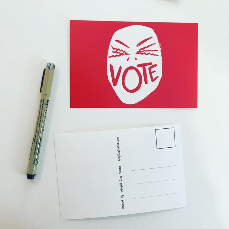 Scream Vote, get out the vote, political postcards, write your representatives--Greeting Card