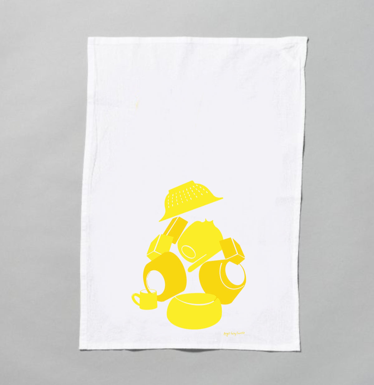 PREORDER: Yellow Dishes Tea towel, Flour sack screen print tea towel, by Abigail Gray Swartz