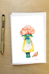 Gardener with Pink Flowers--Greeting Card