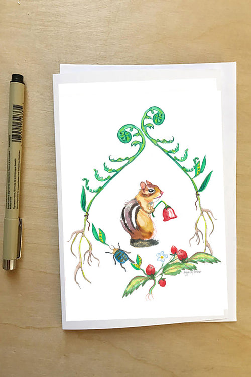 Chipmunk, in a floral wreath, woodland card--Greeting Card