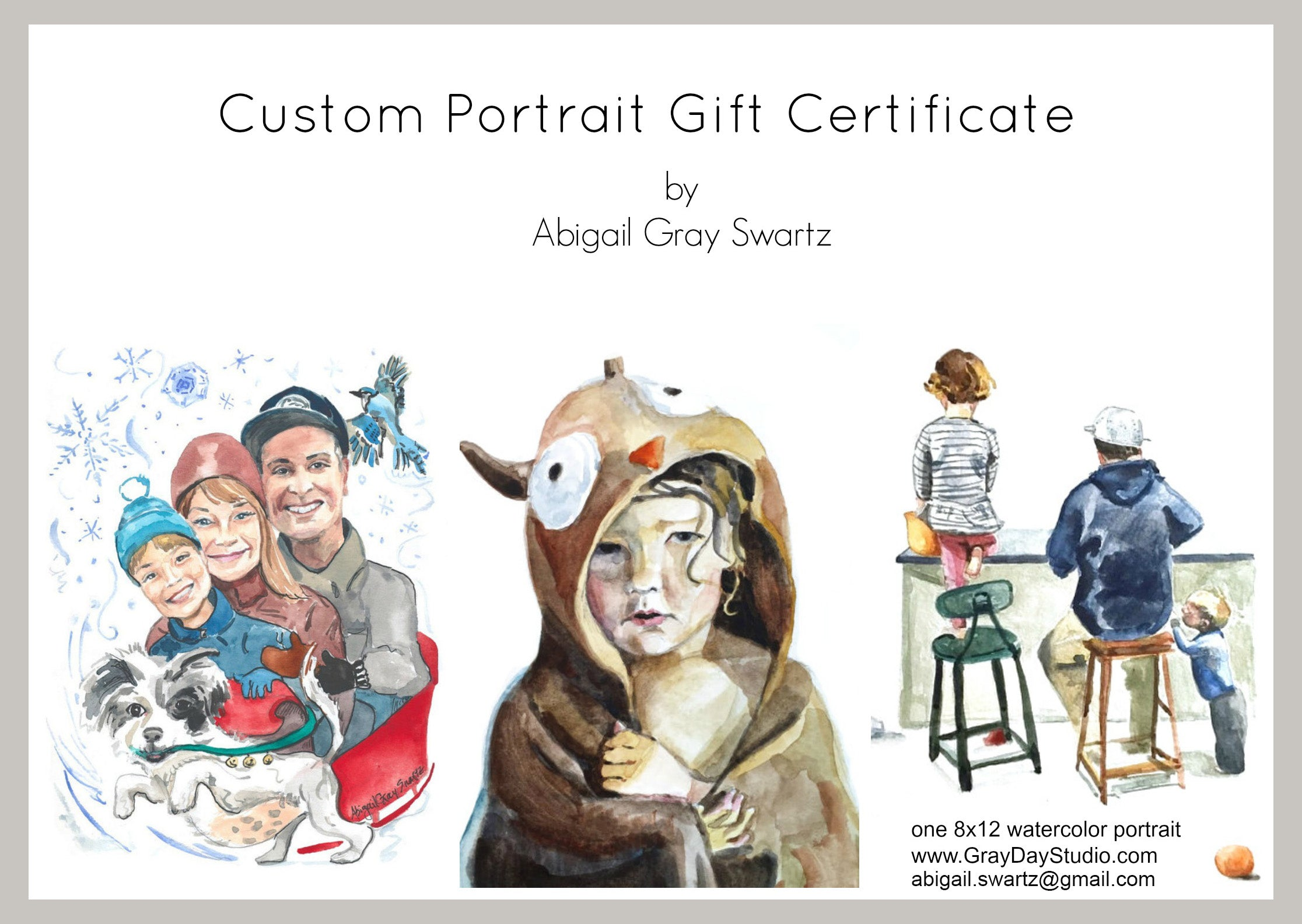 Custom Portrait, Gift Certificate, pet portrait, house portrait, people portrait