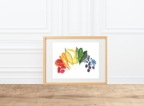 Food Rainbow, vegetable harvest garden celebration, painting || watercolor --Print
