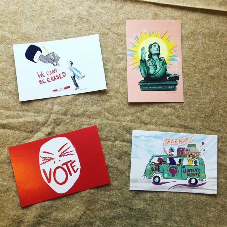 Jane Bus, political postcards, write your representatives--Greeting Card