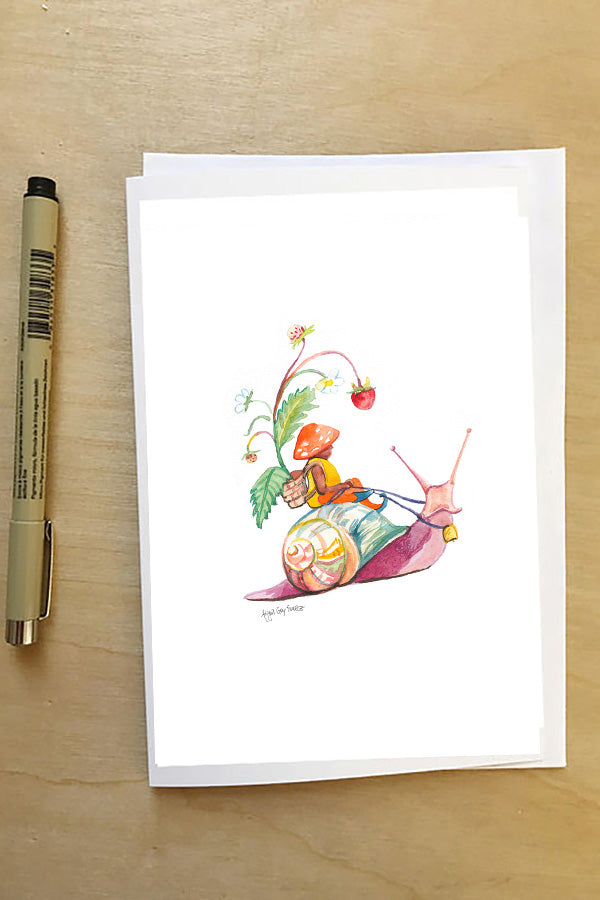 Gnome riding a snail--Greeting Card