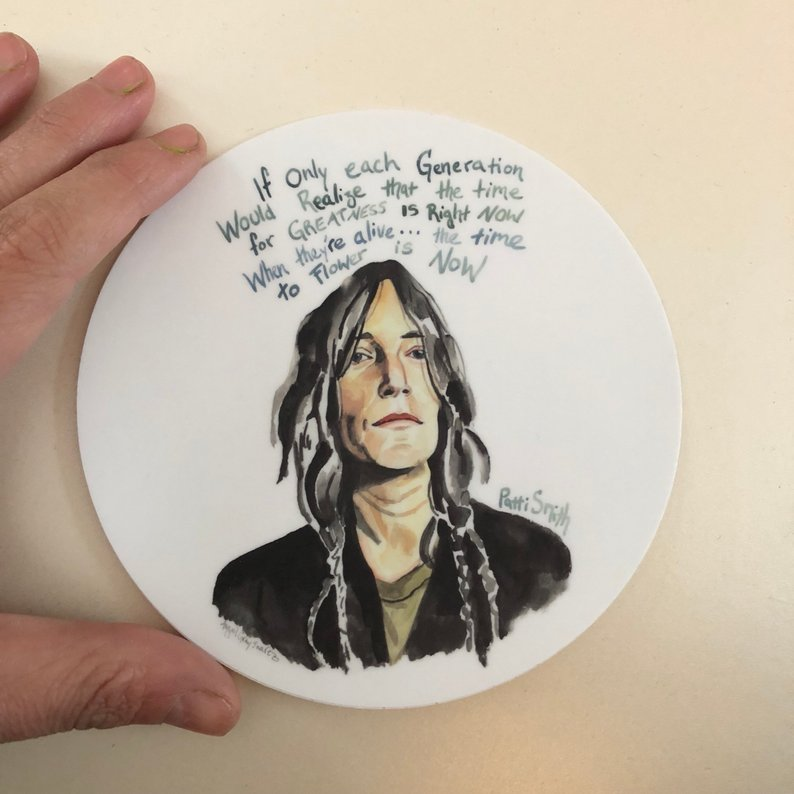 "Patti Smith, STICKER, inspiring quote and portrait 5"" - Stickers & Magnets"