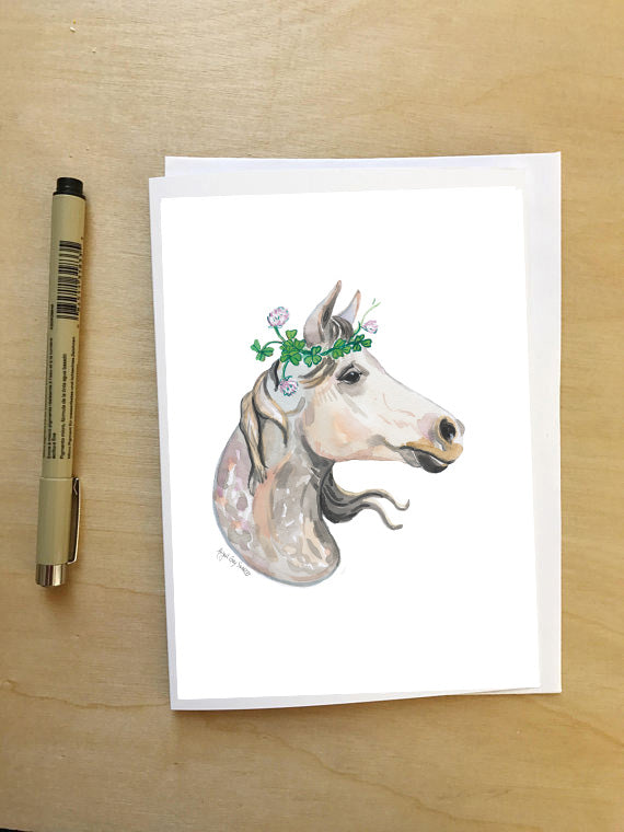 Horse in Clover--Greeting Card