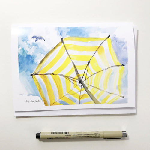 Beach Umbrella, 5x7 greeting card