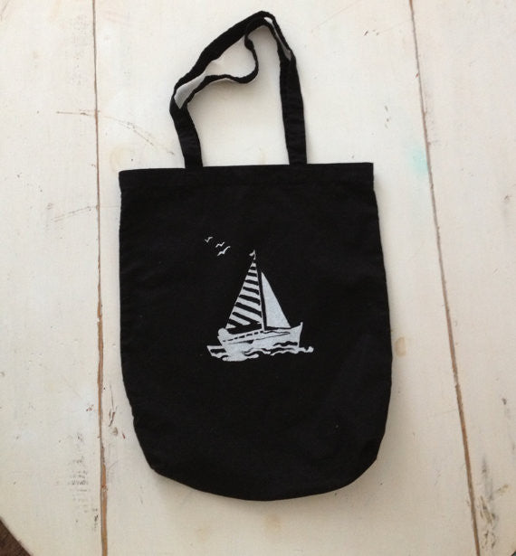 Striped Sailboat, canvas bag, screen print
