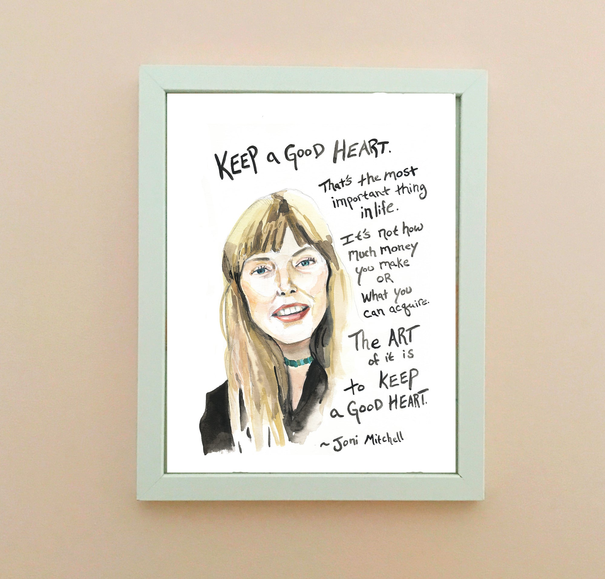 Joni Mitchell watercolor portrait with inspiring quote