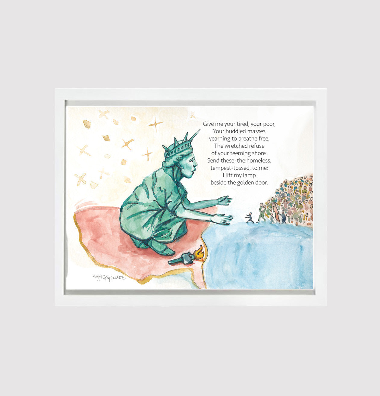 All Are Welcome, Lady liberty welcomes the refugees--Print