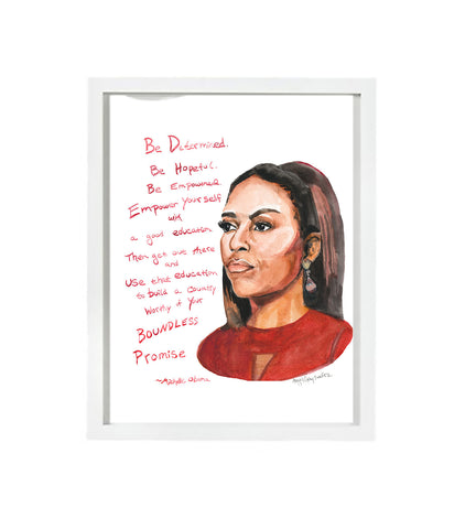 Michelle Obama Portrait || When they Go Low, We Go High--Print