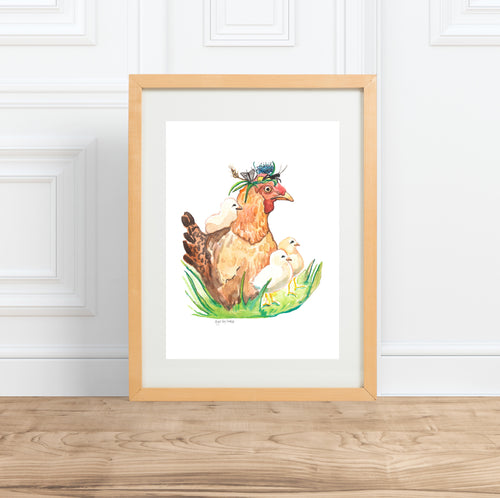 Mother Hen, watercolor animal portrait--Print