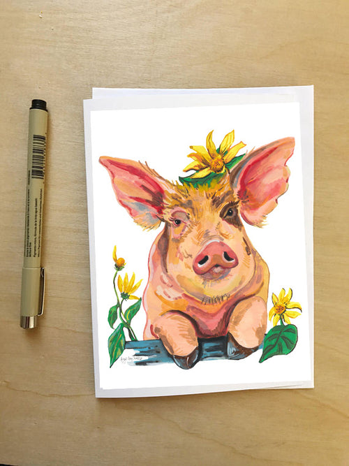 Pig in Flowers --Greeting Card