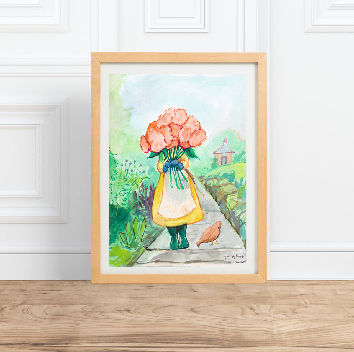 Pick Flowers in the Garden, original watercolor painting--Original Painting
