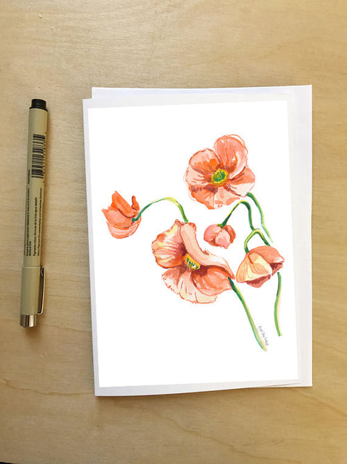 Orange Poppies || Floral still life --Greeting Card