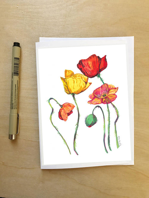Rainbow Poppies || Floral still life --Greeting Card