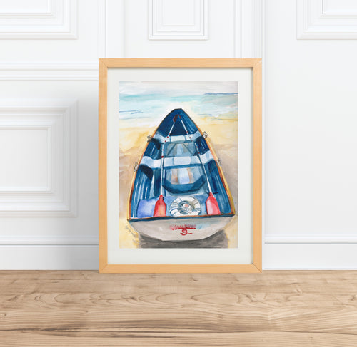 Rowboat Print || nautical boating watercolor painting --Print
