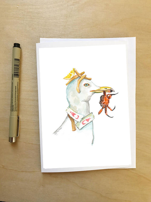 Seagull Lunch--Greeting Card