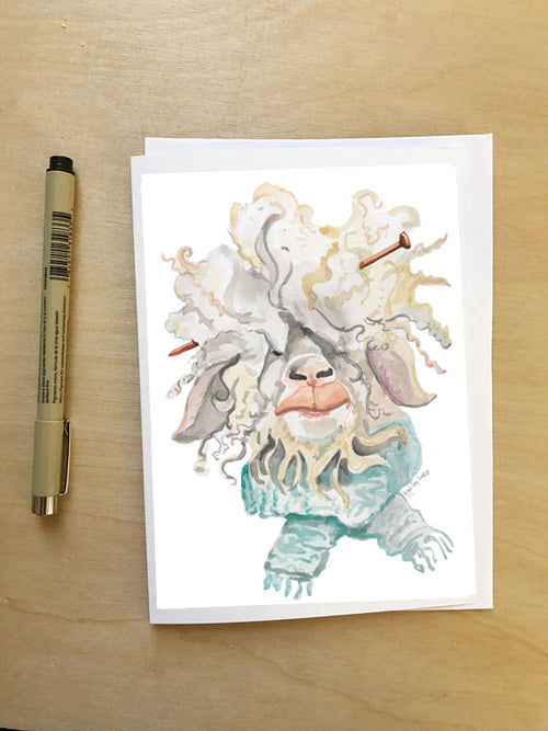 Knitting Sheep--Greeting Card