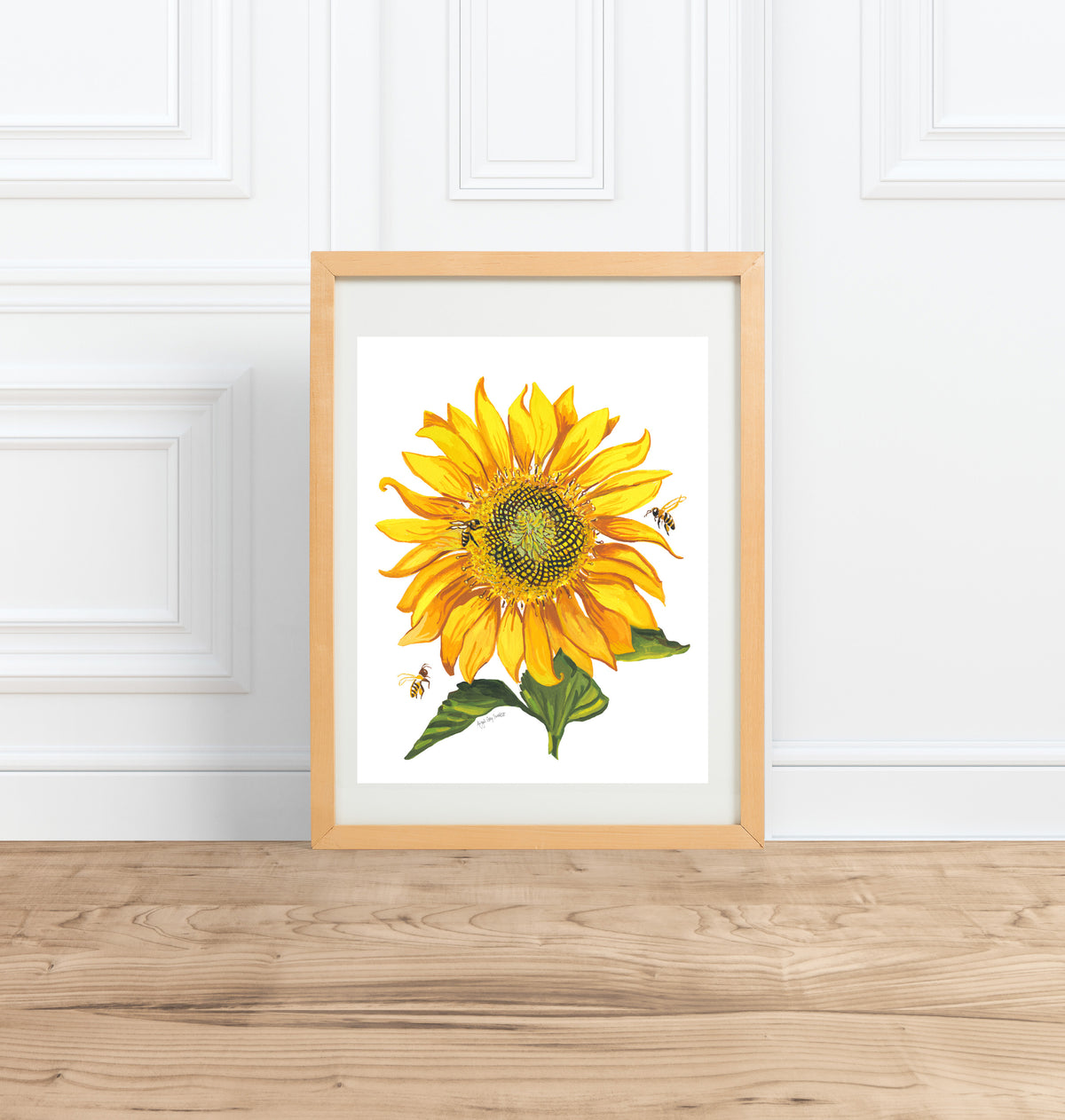 Pollinator Parade, sunflower and bee painting || Floral watercolor --Print