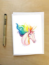 Unicorn with Rainbow Hair--Greeting Card