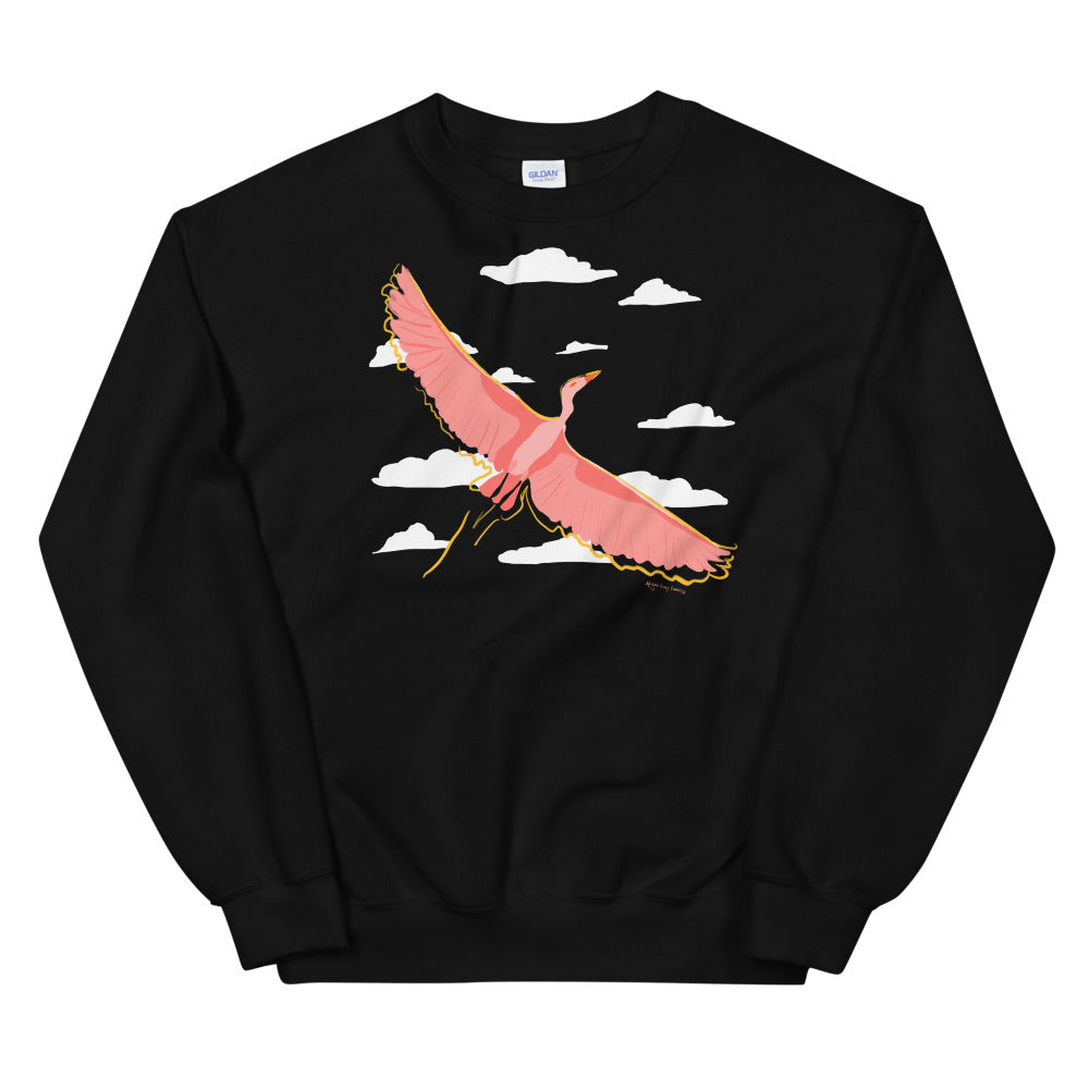 Crane in Flight, bird and cloud crewneck, Unisex Sweatshirt, by Abigail Gray Swartz