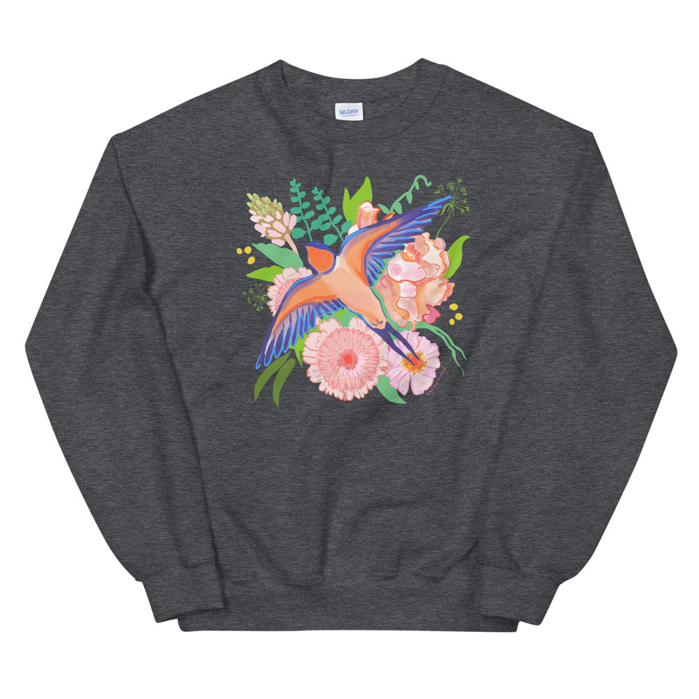 Swallows and Flowers, botanical bird crew neck, Unisex Sweatshirt, by Abigail Gray Swartz