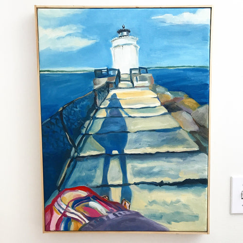 Silhouette at Bug Light, Original Oil Painting, Maine lighthouse