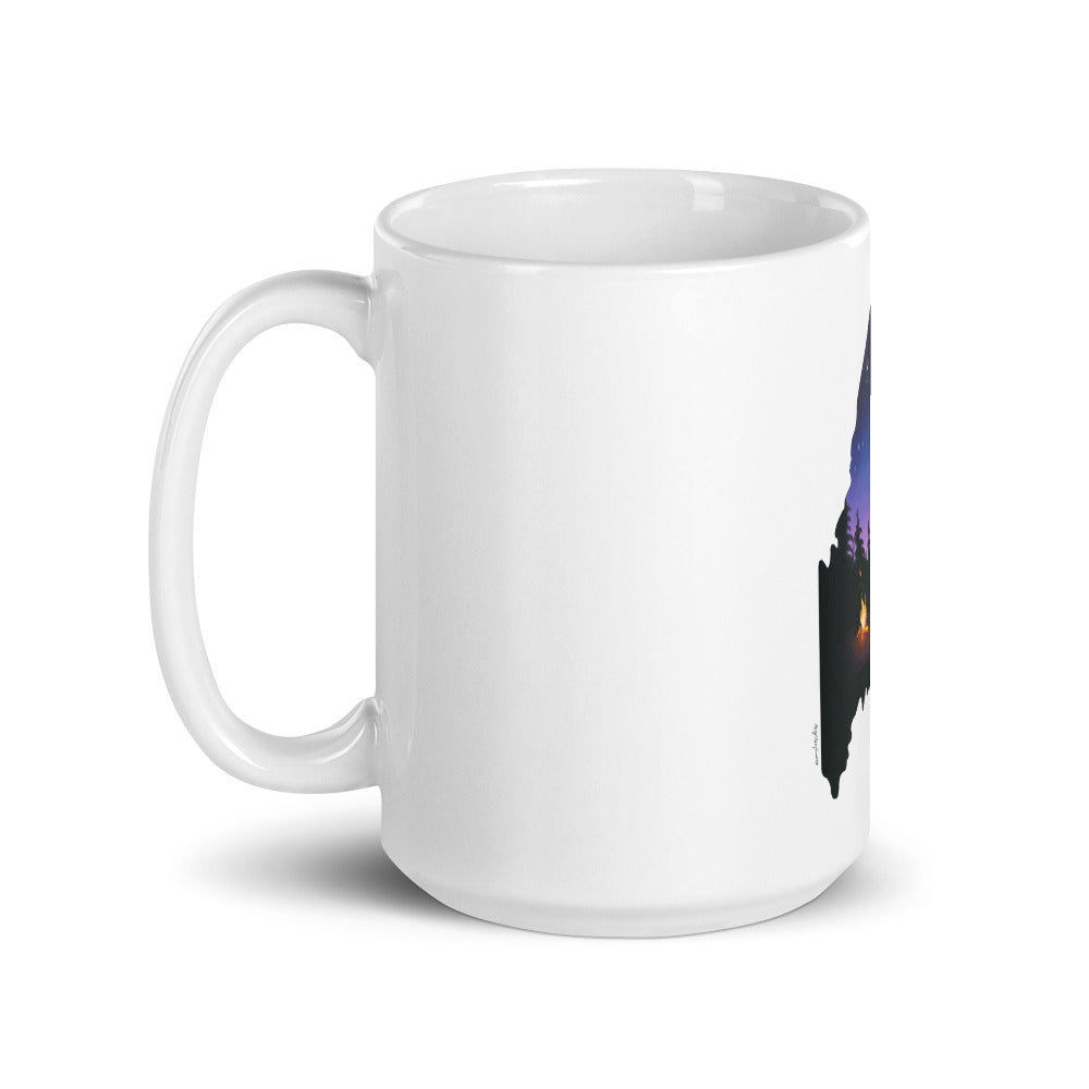 Maine Night Sky mug, camping in Maine, get outside in the state of Maine, White glossy mug