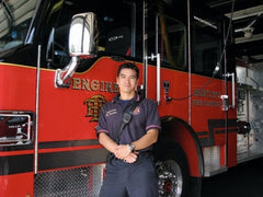 Rodney in front of fire engine