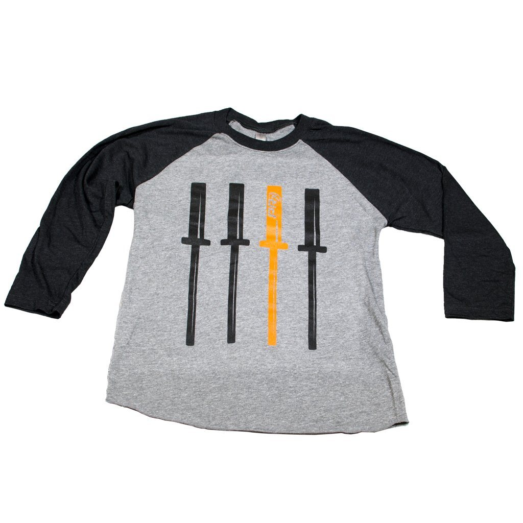 Men's Apparel - Unisex Raglan 3/4 T-Shirt - PRx Vertical Barbells