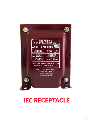 750 Tru-Watts™ UL-approved Step Down Voltage Transformer with IEC C13 Input - Use 110-120-Volt appliances in 220-240-Volt countries – ADICH14-750 CTOC IEC