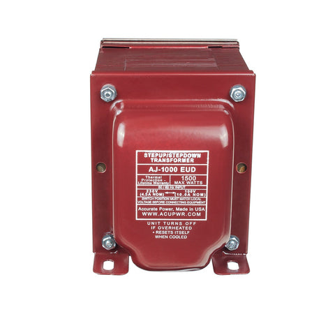 ACUPWR red 1000-Watt Voltage Transformer (AJ-1000EUD) front view with label