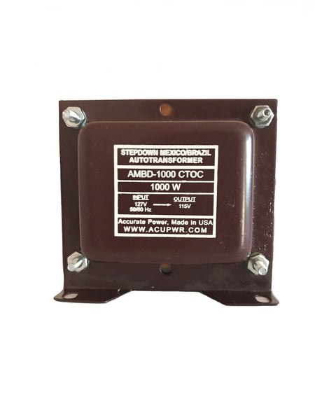 ACUPWR red 1000-Watt Step-Down Transformer (AMBD-1000) front view with label