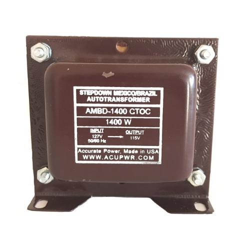 1400 Tru-Watts™ 127 Volts to 115 Volts Step Down Transformer - Use American/Canadian Electrical Devices in Mexico, Brazil and other 127-Volt Countries – AMBD-1400